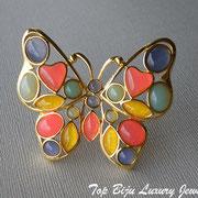 """П-768.Винтажная брошь"""" Цветочная бабочка"""" от дизайнерского дома Трифари, 60е года (описание марки в разделе Имена). Первозданное новое состояние, кабошоны с эффектом опала"""