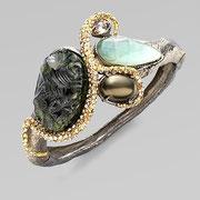 П-705.Браслет от американского дизайнера Алекса Биттара. Люцит, камни Сваровски, позолота.