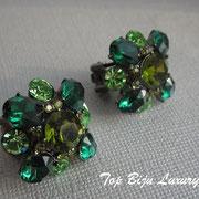 П-762.Серьги от Кеннет Лэйна, коллекция 2012 года Индия. Камни Сваровски изумрудных оттенков в алмазной огранке.