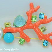 """П-834. Брошь """"Коралл с самоцветами"""". Дизайнер Кеннет Джей Лэйн. Позолота 24К, декор авторской эмалью, камнями Сваровски. Размер 9х7см. Повтор под заказ, в наличии в разных цветах"""