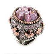 П599.Перстень из серебра со вставкой мурано, серебро 925, ручная работа. Из эксклюзивной коллекции Алана К.