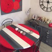 meuble peint table relooking rayures peintre toulouse