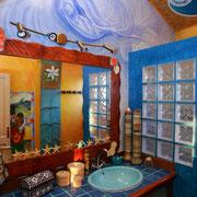 Fresque murale salle de bain