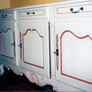 meuble peint buffet patine effet rechampis