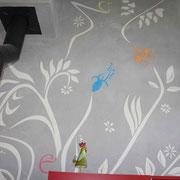 fresque mural sgraffito detail artisan peintre toulouse