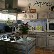 meubles peints cuisine après