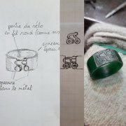 """Bague argent 925 """"vélo"""" - du dessin à la cire"""