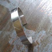 Bracelet réglable en argent texturé pour homme ou mixte
