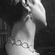 """Collier et boucles d'oreille en argent et vis inox """"en ronds"""""""