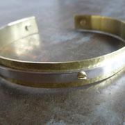 Bracelet homme ou mixte réglable argent vissé sur laiton martelé