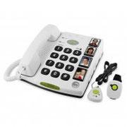 Téléphone fixe à grosses touches et médaillon d'appel