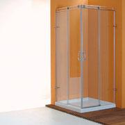 """MAMPARA DE DUCHA MODELO """"ONASSIS-A"""". Angular de ducha con 2 hojas fijas y 2 correderas."""