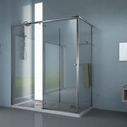 MAMPARA DE DUCHA CON ZONA DE SECADO MODELO HUMIDRY-4C. Mampara angular de ducha de dos panels fijos, una puerta corredera y una puerta abatible