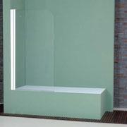"""MAMPARA DE BAÑO MODELO """"BURGOS"""". Frontal baño con 1 hoja pivotante 180º."""