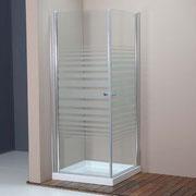"MAMPARA DE DUCHA MODELO ""MIRÓ"". Angular de ducha con 2 hojas pivotantes 180º."