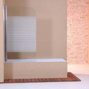 "MAMPARA DE BAÑO MODELO ""MADRID"". Frontal baño 1 hoja pivotante 180º."
