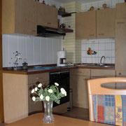 Küche in der Ferienwohnung Gänseblümchen im Haus Resi in Mähring