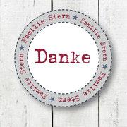 "Personalisierter Namensaufkleber 5.1 ""DANKE"""