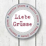 "Personalisierter Namensaufkleber 5 ""LIEBE GRÜßE"""