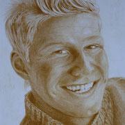 Lächeln (Farbstift), 28 x 19 cm, gerahmt