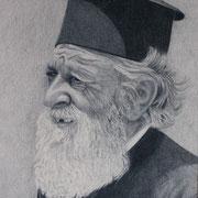 griechischer Geistlicher (Farbstift), 27 x 21 cm, gerahmt