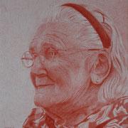 alte Dame (Farbstift), 21 x 24 cm, gerahmt