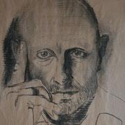 denkender Mann (Kohle), 48 x 40 cm, gerahmt