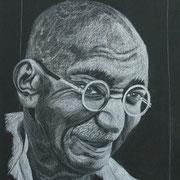 Mahatma Gandhi (Farbstift), A 4