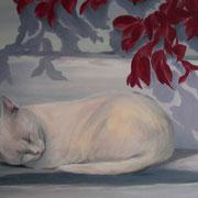 schlafende Katze (Öl), verkauft