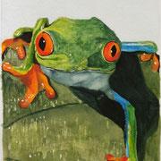 Frosch auf Blatt (Aquarell), verkauft
