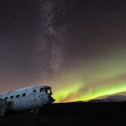 aurora borealis | milky way | sólheimasandur | island 2016
