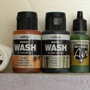 Farben, Washes und Pigmente, die bei nachfolgender Farbgebung verwendet wurden.