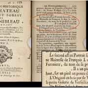 """Guilbert A. """"Description historique des Chateaux, Bourg et Forest de Fontainebleau"""", Tomo I, Paris, 1731, p. 157"""