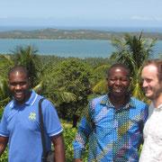 Reginaldo, Eugenio and Michel in front of the laguna in Chissico