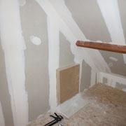 Détail : niche dans le placo pour radiateur
