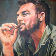 Ché rauchend, 100 x 80 cm, Acryl