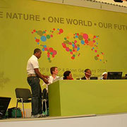 Paraecologist Robert Mukuya (Namibia) giving a presentation about his work at a side event during the Convention on Biological Diversity COP 9 in Bonn in 2008.
