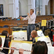 Intensive Arbeit bei der Orchesterprobe am Vortag