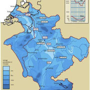Climate services: data. Discharge of the Rhine at the border of Germany - The Netherlands. Average: 2,200 m3/s, Top: 12,000 m3/s, Peak: 16,000 m3/s (1/1250 year). Copyright: Rijkswaterstaat