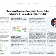 Artikel von Florian Nitzinger im Schweizer Tagesanzeiger, Thema Trockene Augen und Blephaclean (© Smart Media)