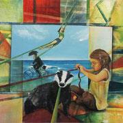 Bande, Acryl u. Streichputz auf Leinwand 100 x 100 cm