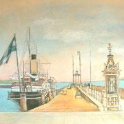 Hafenansicht nach Postkarte, Wandmalerei für CAP Rotach