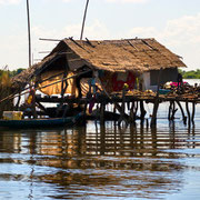 Typical House on the Tonle sap lake, between Siem Reap and Battambang. Cambodia.