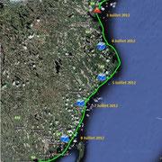 Suède. Depuis l'archipel de Rönnskärs près de Byske 1er Juillet 2012 jusqu'à Järnäshalvöns pointe sud de la municipalité Nordmaling 11 Juillet 2012.