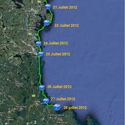 Suède. Depuis Bergö Fiskehamn dans le conté de Gavleborgs le 21 Juillet 2012 jusqu'à l'île de Hälstensörarna le 28 Juillet 2012