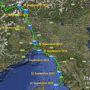 Italie. Depuis Brig-Glis le 16 Septembre 2012 jusqu'au sud de l'ile d'Elbe (Italie) le 23 Septembre 2012.