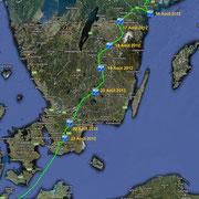 Suède. Depuis l'archipel de Stokholm le 8 Août 2012 jusqu'à Ivendort (Allemagne) le 24 Août 2012.