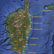 Corse.Depuis le sud de l'ile d'Elbe (Italie) le 23 Septembre 2012 jusqu'au phare de l'île Lavezzi le 4 Octobre 2012.