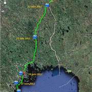 Suède. Avec la fin du parcours vélo du lieu dit d'Ylläsjarvi le 21 Juin 2012 jusqu'à Luléa le 24 Juin 2012. Parcours canoe depuis Luléa jusqu'à l'archipel de Rönnskärs près de Byske le 1er Juillet 2012.