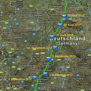 Allemagne. Depuis Ivendort le 24 Août 2012 jusqu'à Bertenheim le 8 Septembre 2012.